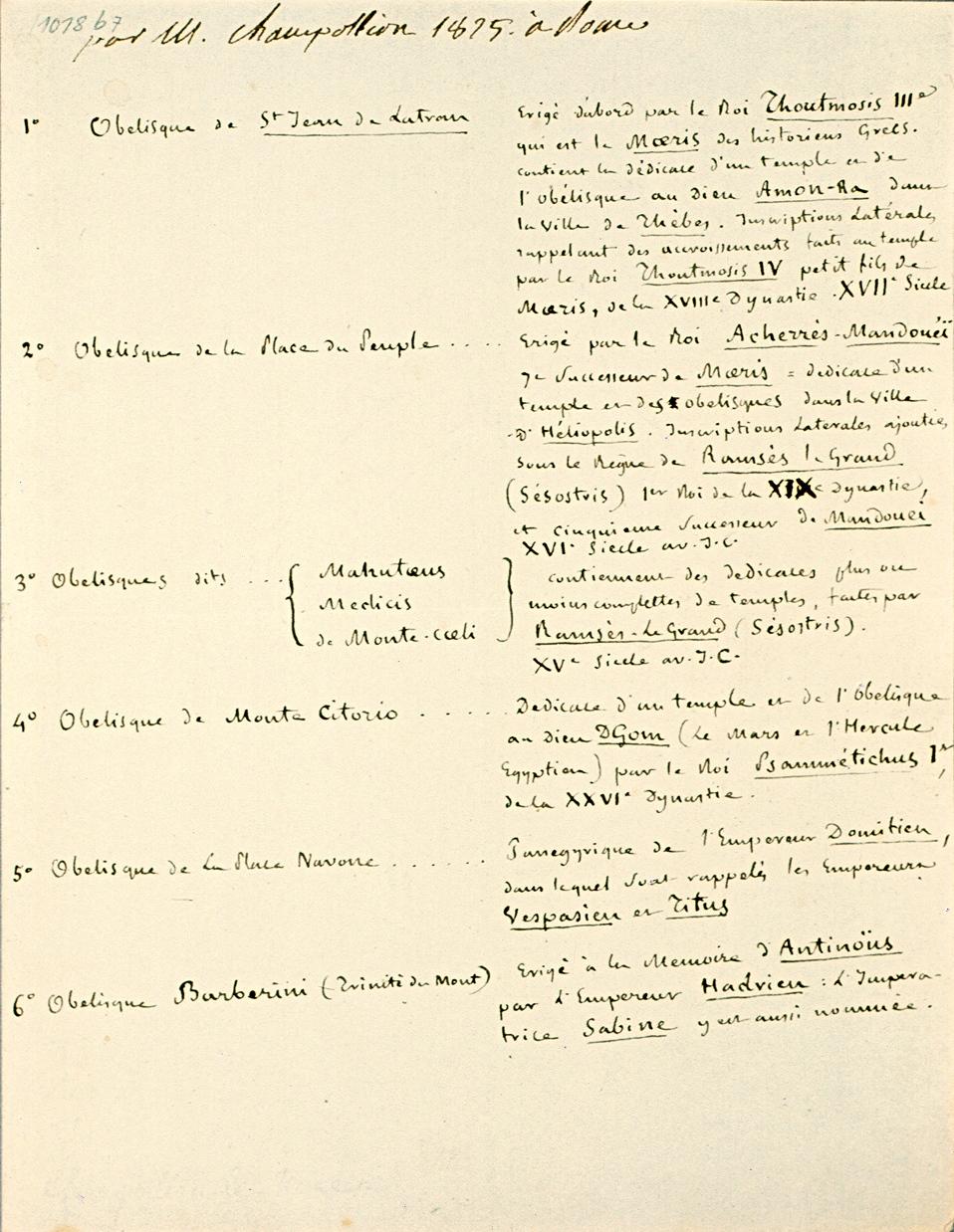 Liste d'obélisques de Rome. 1 p. in 8°. Mariemont, Farde 1018b, 7 ; n° 3196. 1825.